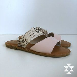 Pink/Snakeskin Slip On Flat Mule Sandals
